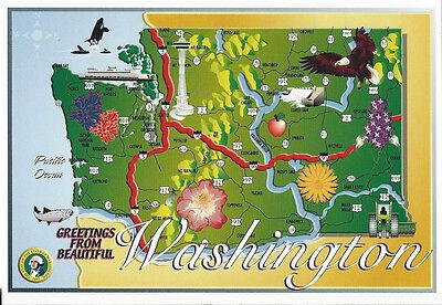 Postcard WA State Map Greetings from Beautiful Washington State Seal Bird MINT