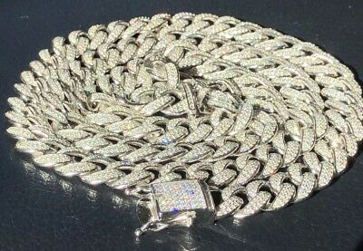 Mens Cuban Miami Link 12mm Chain 14k White Gold Over Solid 925 Silver Diamonds