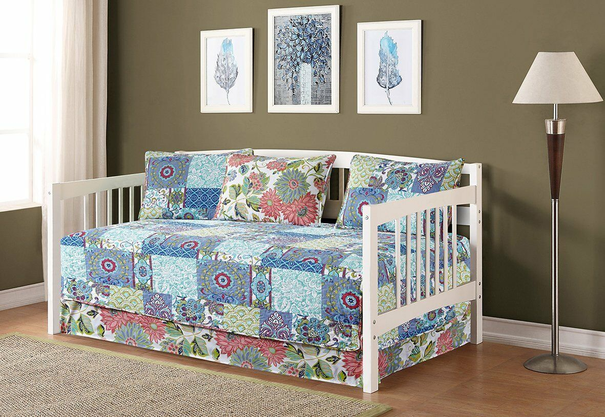 Fancy Linen 5pc Day Bed Cover Floral Blue Teal Green New