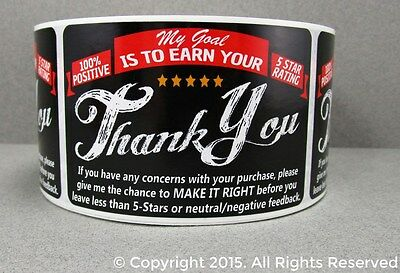 100 Ebay Etsy Thank You For Your Purchase Shipping Labels Stickers 2x3 5 Star Fb