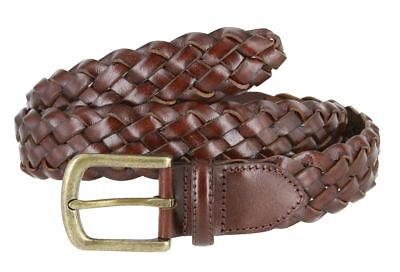 Men's Genuine Leather Woven Braided Dress Casual Belt 1-3/8