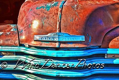 Rusty Vintage Chevy Truck - Matted Fine Art Photo -Old Chevy Photo - retro