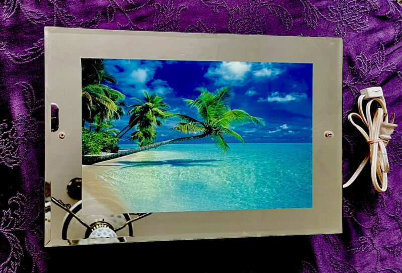 "Vintage Light Up Beach Motion Mirror Picture w/ Sounds 18""x 12 X 2.3/4"""