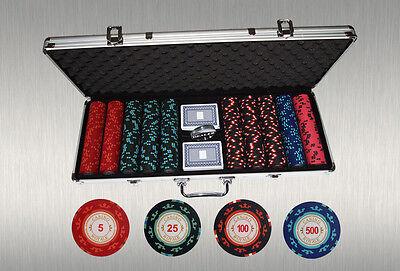"500 Pokerchips ""Casino Royale"" – Super 3/4/2/1-Aufteilung, Koffer, Karten, Extra"