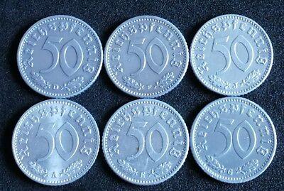 Konvolut 50 Pfennig 1935 A D E F G J alle Münzstätten in Vorzüglich alte Münzen
