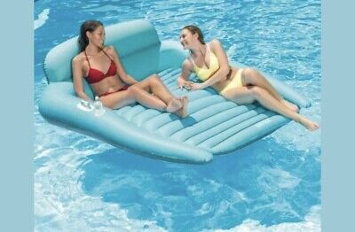 New Blue Medallion Float W// 2 Cup Holders Side Handles Inflatable 5/' Pool Float