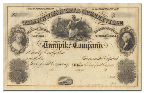 Newmarket & Sperryville Turnpike Company Stock Certificate (1800