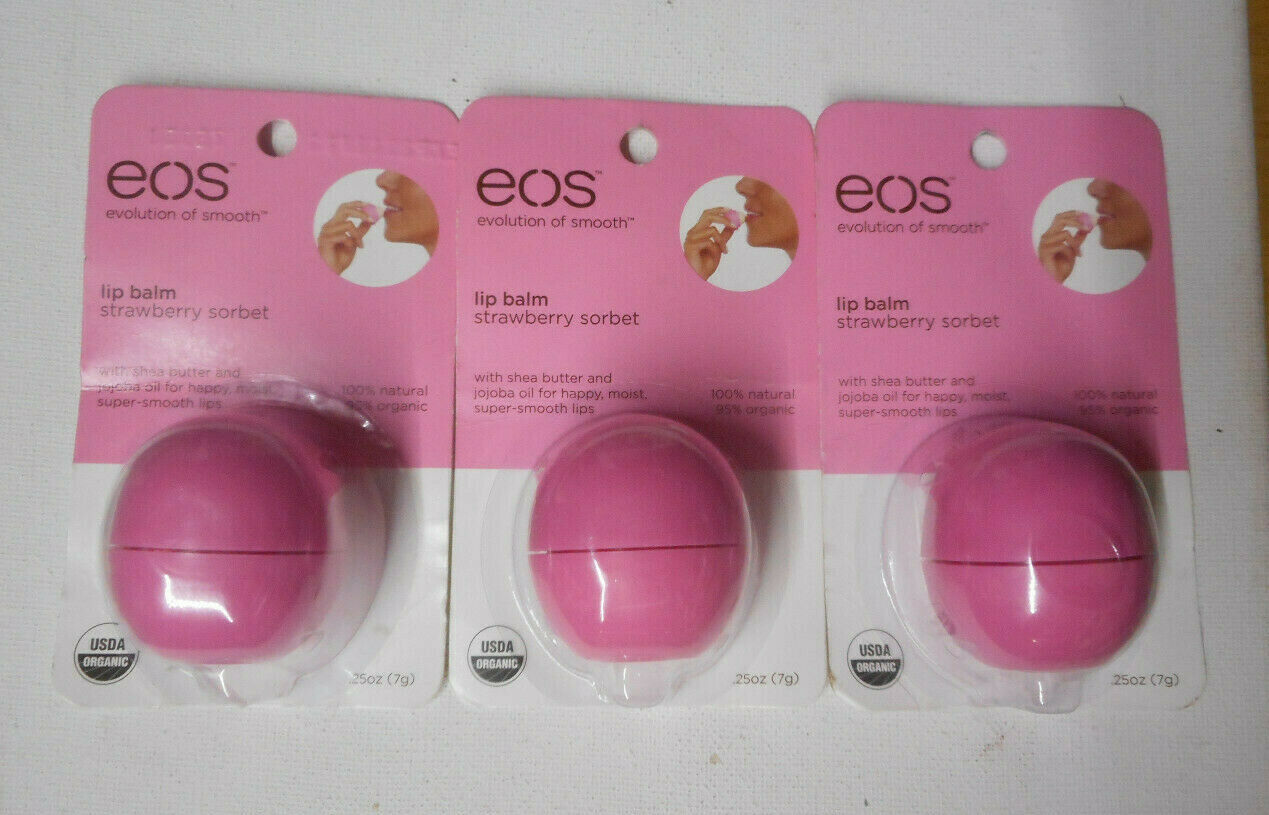 LOT OF 10 EOS LIP BALM STRAWBERRY SORBET 95% ORGANIC 100% NA