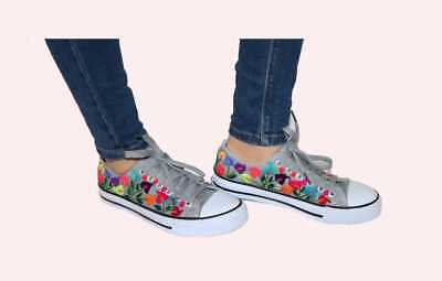 Womens Mexican Embroidered Sneakers Size 6 Gray Floral Canvas Tennis Shoes