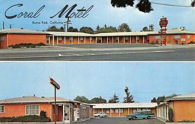 CORAL MOTEL Buena Park, CA Orange County Roadside c1950s Vintage Postcard