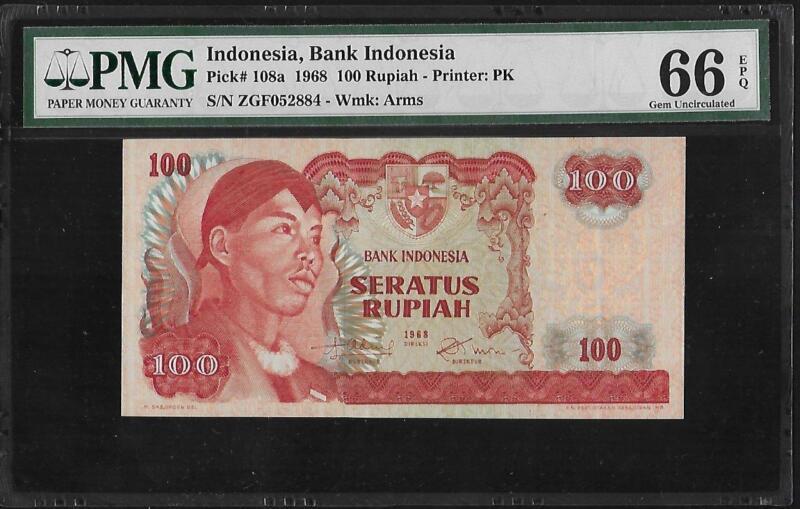 Indonesia P-108a 100 Rupiah 1968 PMG 66 EPQ