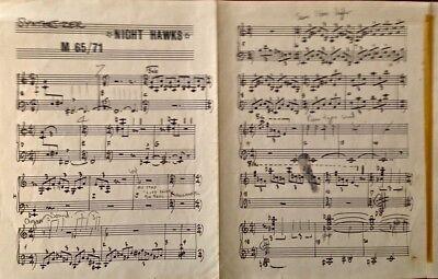 Keith Emerson (ELP) Night Hawks Sheet Music With KE Handwritten Notes Facsimile