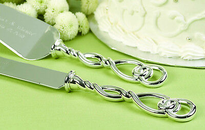 - Silver Love Knot Personalized Wedding Cake Serving Set - 74614