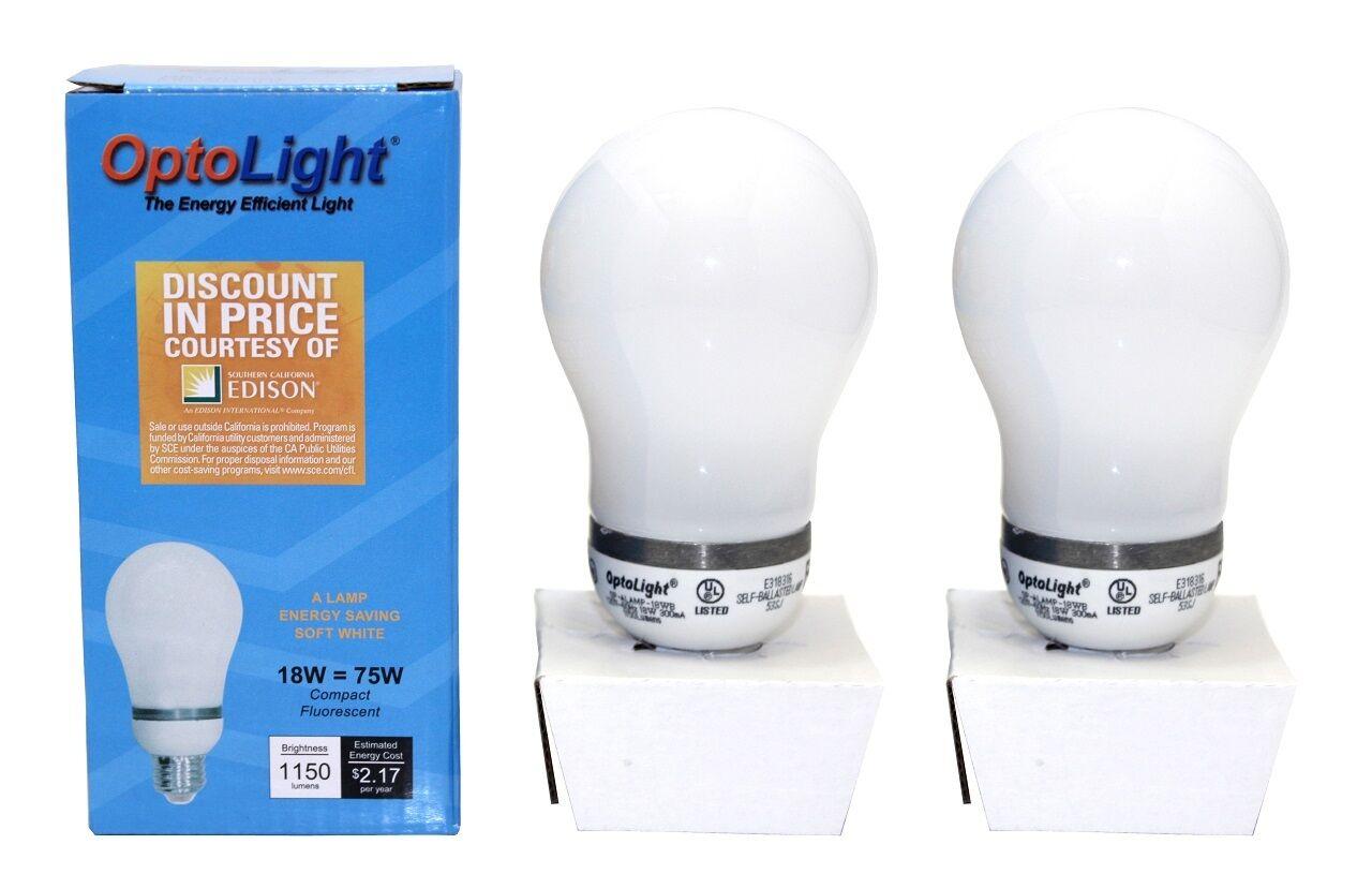 2x CFL Light Bulbs 18W = 75W 120V 60Hz 1150 Lumens Energy Saving Environmental