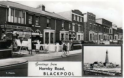Blackpool Hornby Road Tom Moore Shop unused sepia RP old postcard Constance