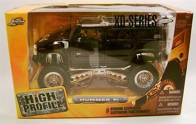 HUMMER H2 BLACK HIGH PROFILE WORKING SUSPENSION JADA 1:24 SCALE DIECAST RARE!!!