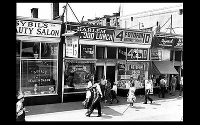 1939 Harlem New York City Shops PHOTO Vintage Street Scene Stores Cafe Salon NYC
