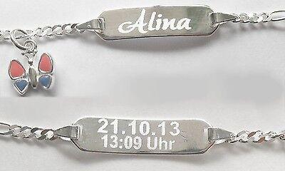 Tauf Armband mit Gravur Echt Silber Schmuck 925 Ident Armkette Baby Kinder neu