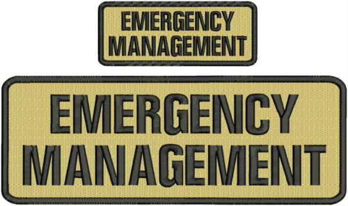 emergency management embroidery patch 4x10 & 2x5 hook on back tan/blk