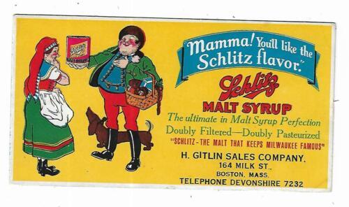 Old Color Litho Advertising Blotter Schlitz Malt Syrup Gitlin Sales Co Boston