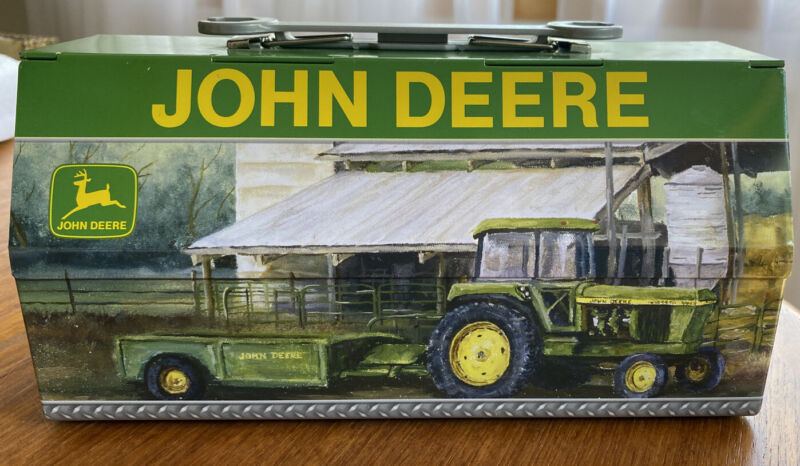 John Deere Small Tin Lunch Box With Wrench Handle