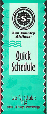 Sun Country Airlines System Timetable 10 26 98  5112   Buy 4  Save 50