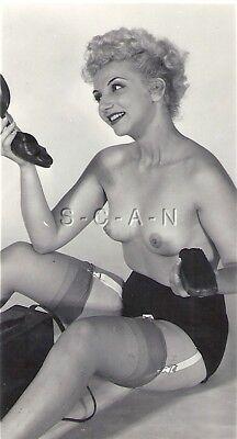 Org Vintage 1940s-50s Nude RP- Blond- Shine Shoes- Panties- Garter- Stockings