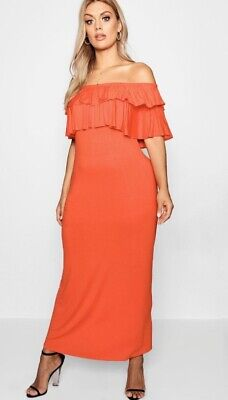 Boohoo Women's Plus Off Shoulder Ruffle Maxi Dress Red Size US:14