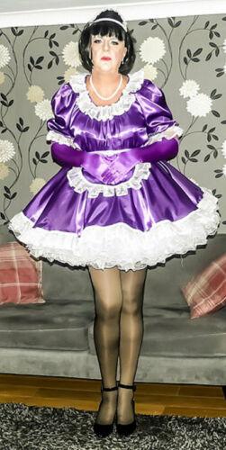 Stunning Purple Satin & Organza French Maid Uniform. Lockable