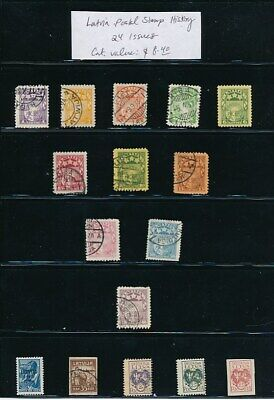 OWN PART OF LATVIA POSTAL STAMP HISTORY. 24 ISSUES CAT VALUE $8.40