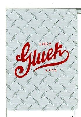 """Single Playing Card, 1857 """"Gluek"""" Beer, Wide Gray"""