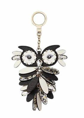 KATE SPADE~~Leather Owl Keychain Key FOB BlackWhiteSilver~~NWT~~SO SO PRETTY