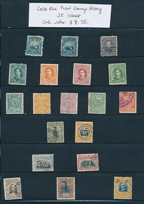 OWN PART OF COSTA RICA POSTAL STAMP HISTORY. 25 ISSUES CAT VALUE $8.75