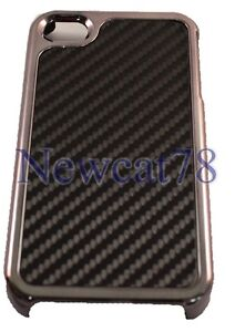 NEW!! Real Carbon Fiber Chrome Hard Case Cover for iPhone 4 4S  !!!USA SELLER!!!