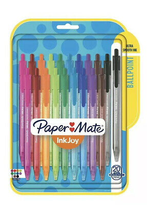 20 Paper Mate Inkjoy Medium Point 100rt Retractable Ballpoint Color Pens