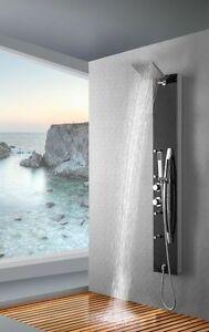 Schwarz Glas Duschpaneel Duschsäule Brausepaneel Thermostat Wasserfall Dusche