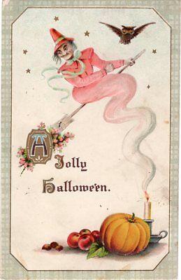 GOTTSCHALK DREYFUSS & DAVIS HALLOWEEN POSTCARD SERIES 2399, WTICH ON BROOM.](Davis Halloween)