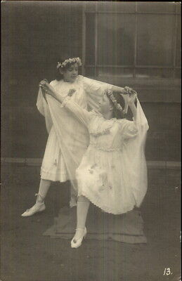Real Fairy Costumes (Little Girls in Fairy Ballet Costumes Dancing c1915 Real Photo)
