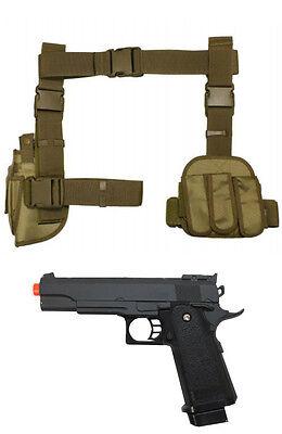 Halloween 3Pc Drop Leg Pistol Gun Holster Magazine Pouch w Prop Gun Tan CV2908T](Leg Gun Holster Halloween)