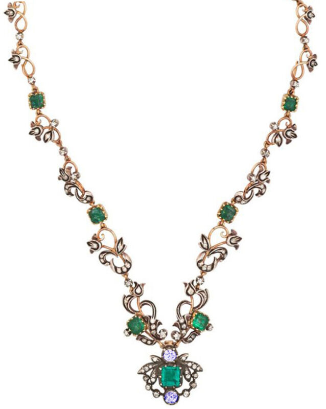 1.30cts ROSE CUT DIAMOND EMERALD SAPPHIRE ANTIQUE VICTORIAN LOOK SILVER NECKLACE