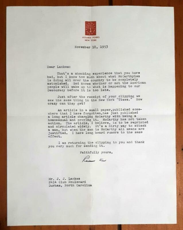 Signed Letter from Rockwell Kent regarding McCarthy being Homosexual TLS 1953