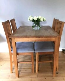 Pine wooden table with 4 chairs