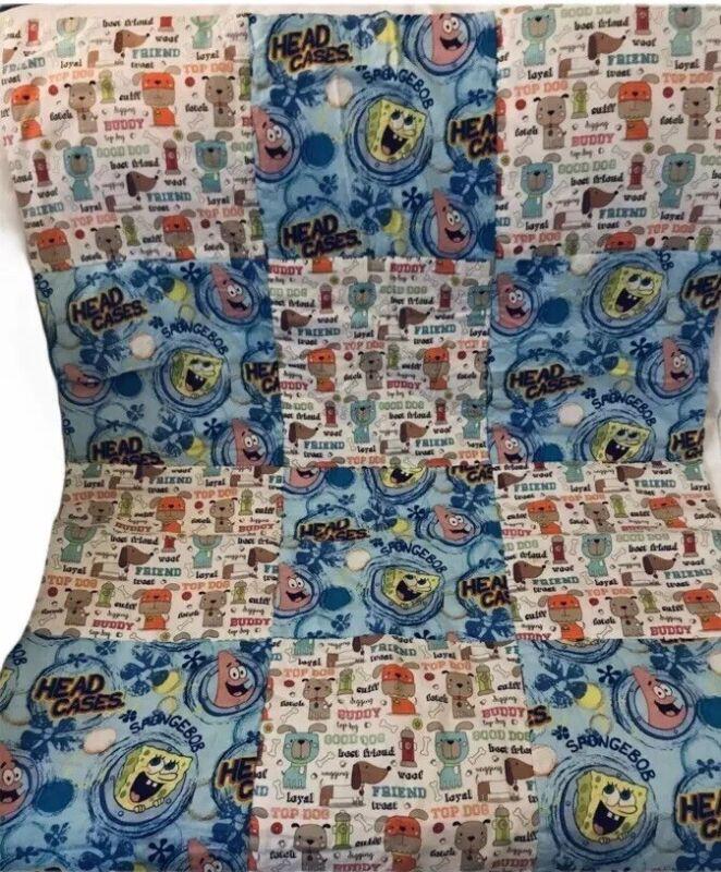 Spongebob Squarepants Toddler Bed Crib Size Handmade Quilt Blanket cupcakes Dogs