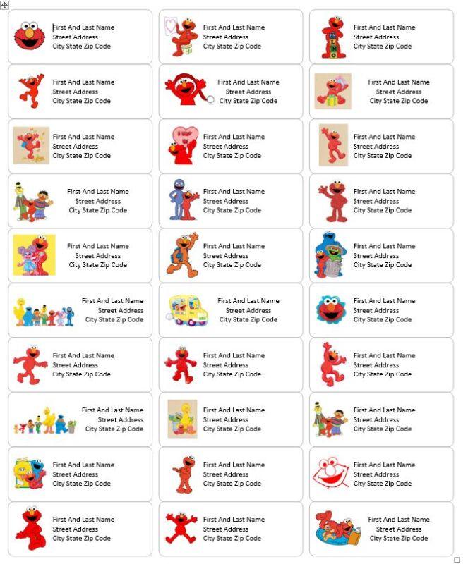 Sesame Street Characters Elmo Return Address Labels - Personalized