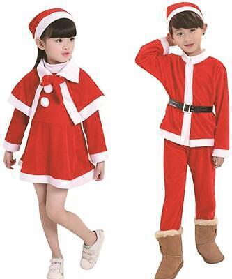 Girls Boys Santa Claus Costume Kids Christmas Fancy Dress Outfits Xmas Costume