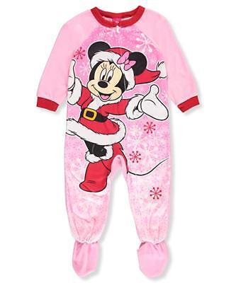 Girls Fleece Pjs (Disney Minnie Mouse Toddler Girls Footed Fleece Christmas PJ's Pink, Size)