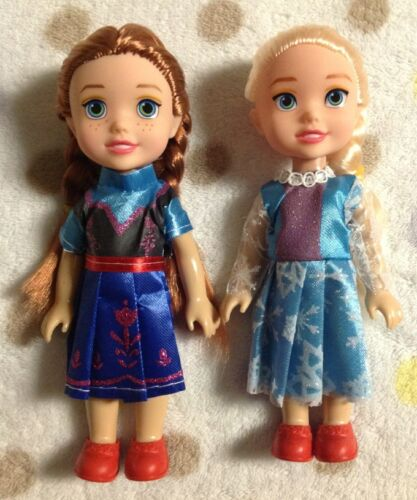 "2pcs Young Toddler Elsa and Anna Sisters Princess In Childhood 7"" Dolls"
