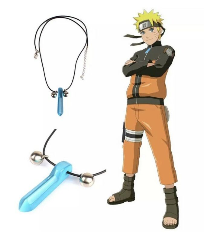"Naruto Blue Crystal Anime Tsunade Necklace Pendant Cosplay 2"" US Seller"