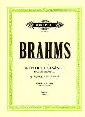 Johannes Brahms Weltliche Gesänge Partitur Edition Peters 3915