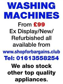 Reconditioned Washing Machines for sale from £99 inc. warranty, delivery, & installation